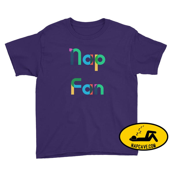 Nap Fan Rainbow Font Youth T-Shirt Purple / XS Kid Tee shirt The NapCave Nap Fan Rainbow Font Youth T-Shirt childrens Gift Gift for Kids