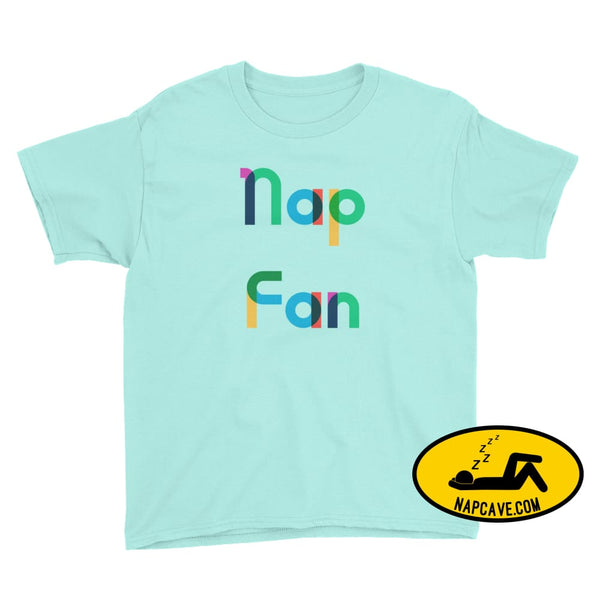 Nap Fan Rainbow Font Youth T-Shirt Teal Ice / M Kid Tee shirt The NapCave Nap Fan Rainbow Font Youth T-Shirt childrens Gift Gift for Kids