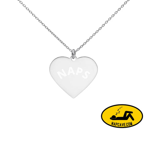 Nap Heart ❤️ Engraved Silver Heart Necklace White Rhodium coating The NapCave Nap Heart ❤️ Engraved Silver Heart Necklace gifts for her,