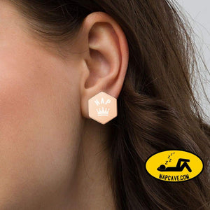 Nap Queen 👑 Sterling Silver Hexagon Stud Earrings 18K Rose Gold The NapCave Nap Queen 👑 Sterling Silver Hexagon Stud Earrings Earrings,
