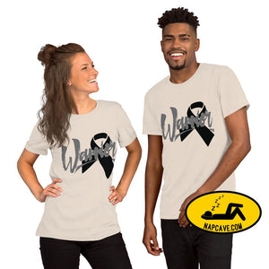 Narcolepsy Black Ribbon Warrior Unisex Premium T-Shirt | Bella + Canvas 3001 Soft Cream / S The NapCave Narcolepsy Black Ribbon Warrior