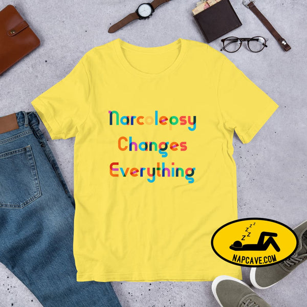 Narcolepsy changes Everything Short-Sleeve Unisex T-Shirt Yellow / S The NapCave Narcolepsy changes Everything Short-Sleeve Unisex T-Shirt