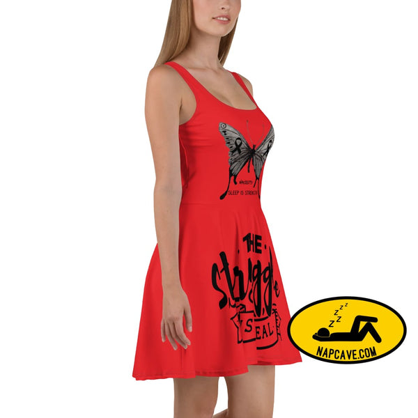 Narcolepsy: Sleep is Strength Black Ribbon Awareness Butterflies Red Skater Dress The NapCave Narcolepsy: Sleep is Strength Black Ribbon