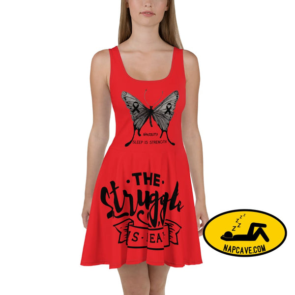 Narcolepsy: Sleep is Strength Black Ribbon Awareness Butterflies Red Skater Dress XS The NapCave Narcolepsy: Sleep is Strength Black Ribbon