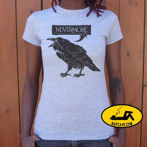Nevermore Raven T-Shirt (Ladies) Ladies T-Shirt US Drop Ship Nevermore Raven T-Shirt (Ladies) animal costumes graphic holidays hoween
