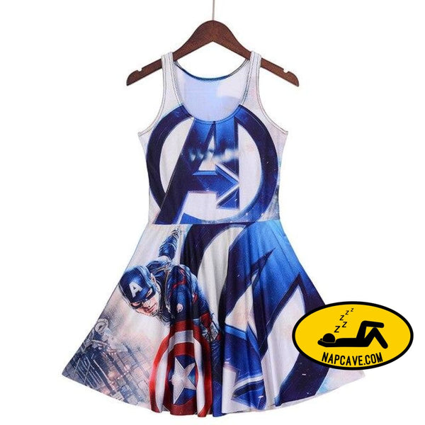 NEW 1240 Sexy Girl Women Superhero The Avengers Captain America 3 3D Prints Reversible Sleeveless Skater Pleated Dress Plus size as picture