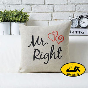 New 1PC Mr Mirs Right Linen Car Home Accesorries Cushion Covers Pillow Cases Pillow cover Nap pillow Cover Cute seat cushion Mr Right pillow