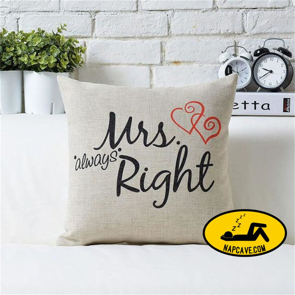 New 1PC Mr Mirs Right Linen Car Home Accesorries Cushion Covers Pillow Cases Pillow cover Nap pillow Cover Cute seat cushion Mrs Right