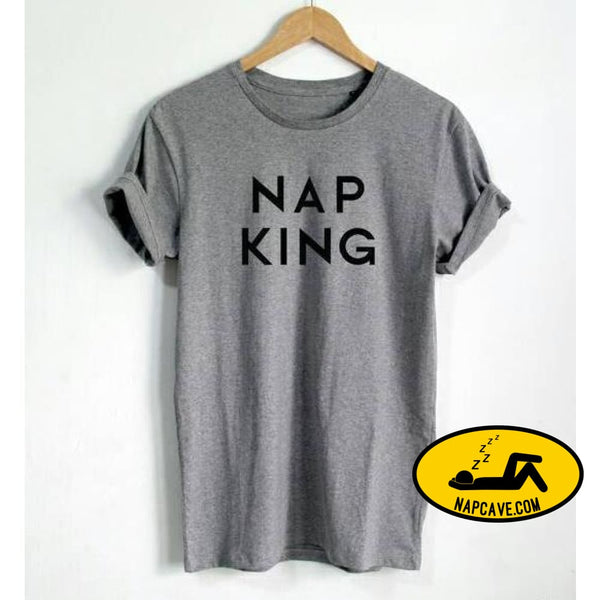 New Arrival Women T shirt Nap King Letters Cotton Casual Funny Shirt For Lady Black White Gray Top Tee Z-241 Gray / S Nap Cave New Arrival