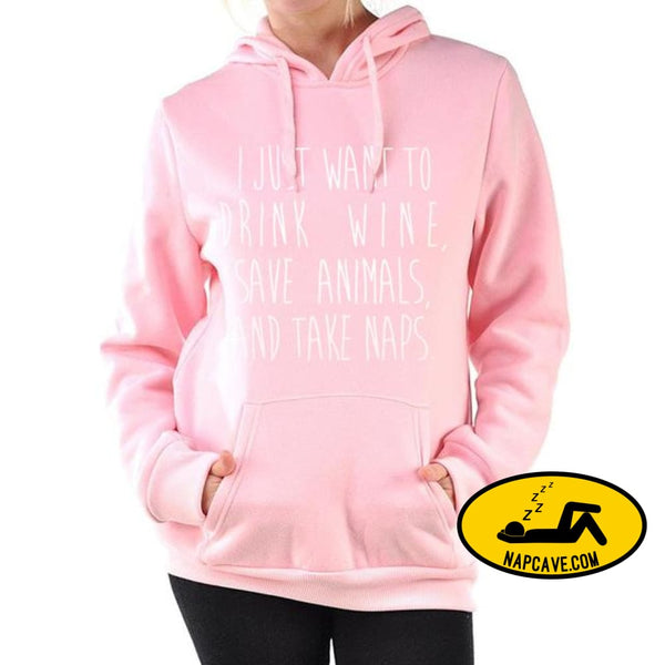 pink white hoodies sweatshirt 2017 autumn women fleece pullovers l just want to drink wine save animals and take naps tracksuits pink 1 / S