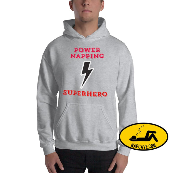 Power Napping Superhero Hooded Sweatshirt Sport Grey / S The NapCave Power Napping Superhero Hooded Sweatshirt cape Hypersomnia Invisible