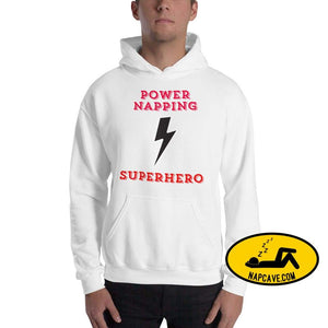 Power Napping Superhero Hooded Sweatshirt White / S The NapCave Power Napping Superhero Hooded Sweatshirt cape Hypersomnia Invisible illness