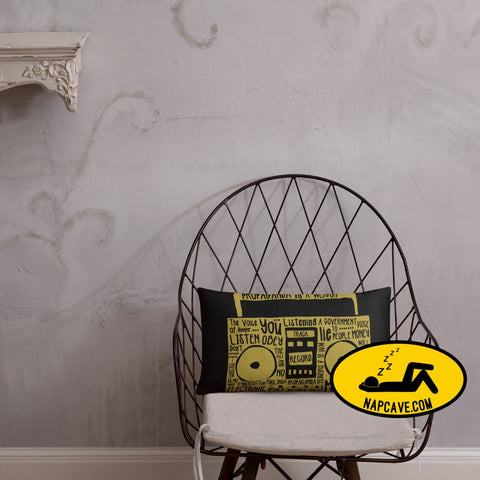 Propaganda Boombox Typography Pillow 20×12 Pillow The NapCave Propaganda Boombox Typography Pillow couch pillow gift nap nap pillow napcave