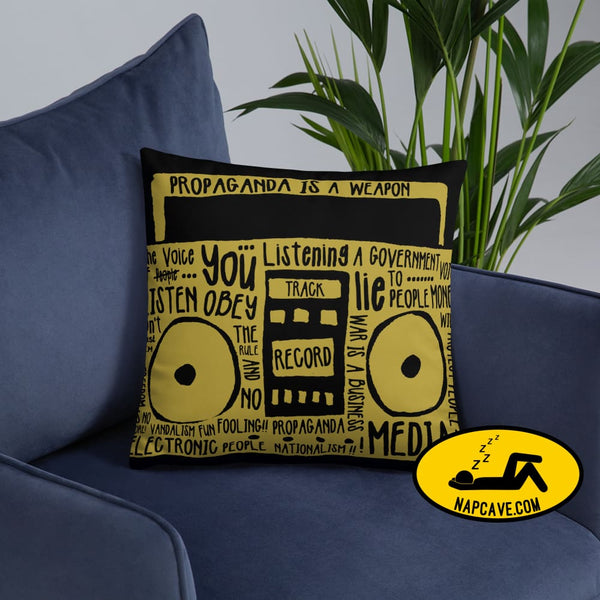 Propaganda Boombox Typography Pillow Pillow The NapCave Propaganda Boombox Typography Pillow couch pillow gift nap nap pillow napcave