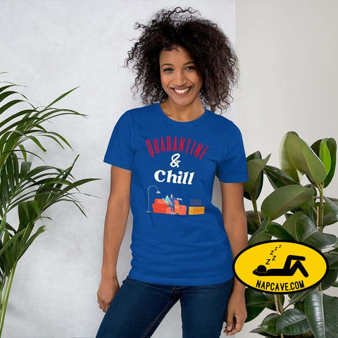 Quarantine and Chill Short-Sleeve Unisex T-Shirt True Royal / S The NapCave Quarantine and Chill Short-Sleeve Unisex T-Shirt bend the