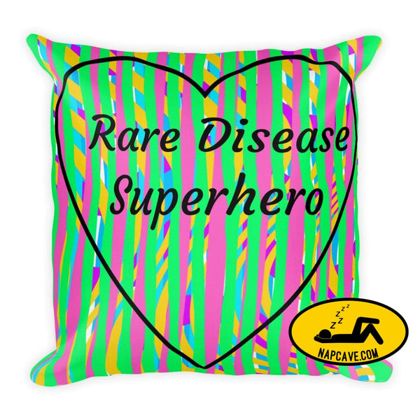Rare Disease Superhero Rainbow Stripes premium Pillow Pillow The NapCave Rare Disease Superhero Rainbow Stripes premium Pillow advocate care