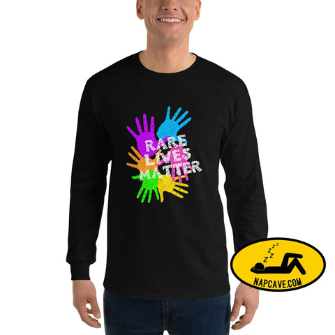 Rare Lives Matter Mens Long Sleeve Shirt Black / S The NapCave Rare Lives Matter Mens Long Sleeve Shirt cozy dare to be rare rare rare lives