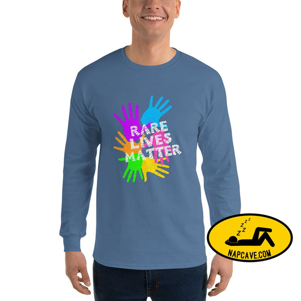 Rare Lives Matter Mens Long Sleeve Shirt Indigo Blue / S The NapCave Rare Lives Matter Mens Long Sleeve Shirt cozy dare to be rare rare rare