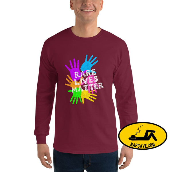 Rare Lives Matter Mens Long Sleeve Shirt Maroon / S The NapCave Rare Lives Matter Mens Long Sleeve Shirt cozy dare to be rare rare rare