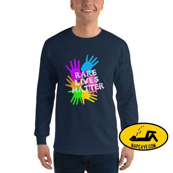 Rare Lives Matter Mens Long Sleeve Shirt Navy / S The NapCave Rare Lives Matter Mens Long Sleeve Shirt cozy dare to be rare rare rare lives