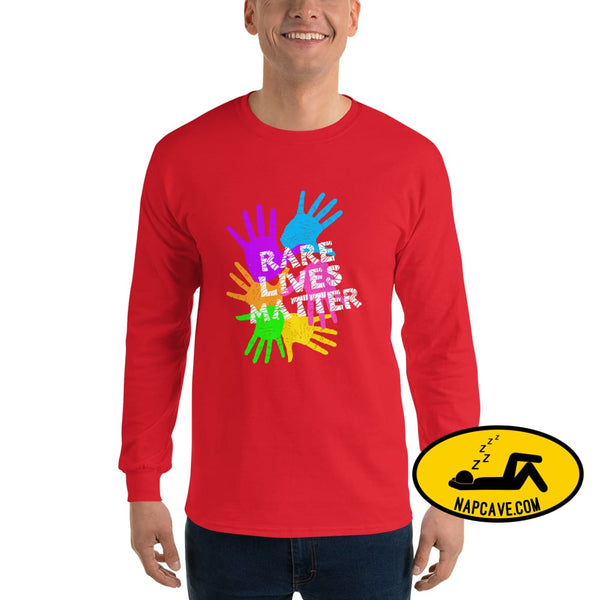 Rare Lives Matter Mens Long Sleeve Shirt Red / S The NapCave Rare Lives Matter Mens Long Sleeve Shirt cozy dare to be rare rare rare lives