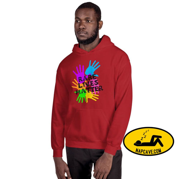 Rare Lives Matter Unisex Hoodie Red / S The NapCave Rare Lives Matter Unisex Hoodie invisible illness narcolepsy orphan drugs Rare (Disease)