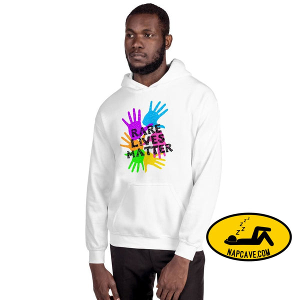 Rare Lives Matter Unisex Hoodie White / S The NapCave Rare Lives Matter Unisex Hoodie invisible illness narcolepsy orphan drugs Rare