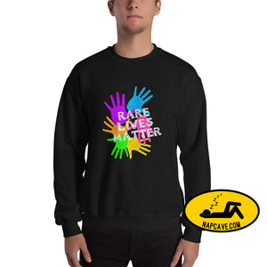 Rare Lives Matter Unisex Sweatshirt Black / S The NapCave Rare Lives Matter Unisex Sweatshirt invisible illness narcolepsy orphan drugs Rare