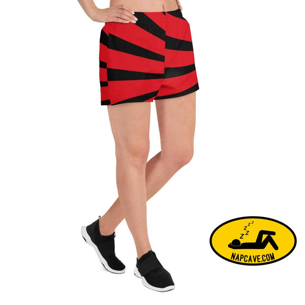 Red and Black Starburst Superheroic Womens Athletic Short Shorts The NapCave Red and Black Starburst Superheroic Womens Athletic Short