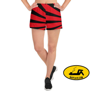Red and Black Starburst Superheroic Womens Athletic Short Shorts XS The NapCave Red and Black Starburst Superheroic Womens Athletic Short