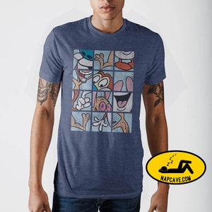 Ren and Stimpy Grid Blue T-Shirt SHIRT Mxed Ren and Stimpy Grid Blue T-Shirt mxed Nick 90s Ren and Stimpy Ren and Stimpy Grid Blue T-Shirt