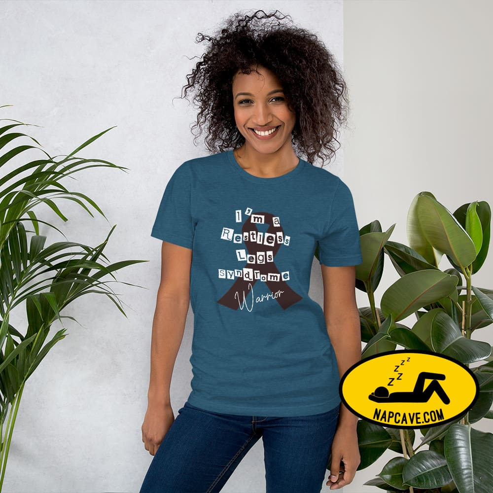 Restless Legs Syndrome Warrior Short-Sleeve Unisex T-Shirt Heather Deep Teal / S The NapCave Restless Legs Syndrome Warrior Short-Sleeve