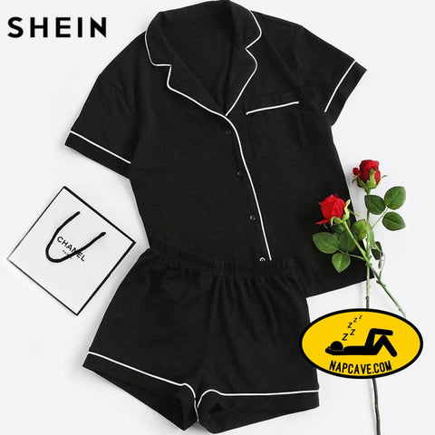SHEIN Contrast Piping Pocket Front Pajama Set Pajamas The NapCave SHEIN Contrast Piping Pocket Front Pajama Set Pajamas Pjs