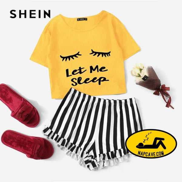 SHEIN Ginger Graphic Tee And Frilled Striped Shorts Pajamas For Women Round Neck Short Sleeve 2019 Summer Pajama Sets NightWear The NapCave