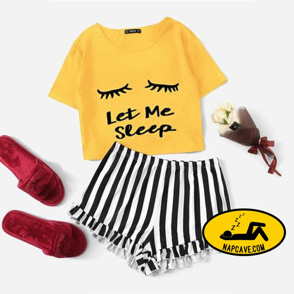 SHEIN Ginger Graphic Tee And Frilled Striped Shorts Pajamas For Women Round Neck Short Sleeve 2019 Summer Pajama Sets NightWear YELLOW / XS