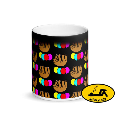 Sloth Floating on Balloons Matte Black Magic Mug The NapCave Sloth Floating on Balloons Matte Black Magic Mug coffee coffee cup colorful