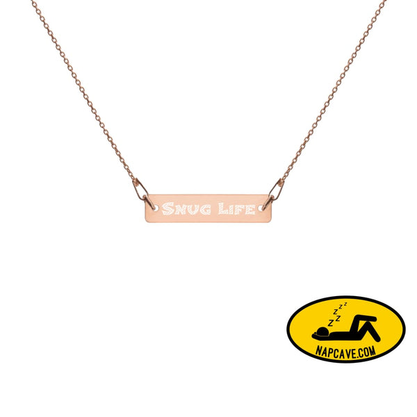 Snug Life Engraved Silver Bar Chain Necklace 18K Rose Gold / 16 Jewelry The NapCave Snug Life Engraved Silver Bar Chain Necklace delicate