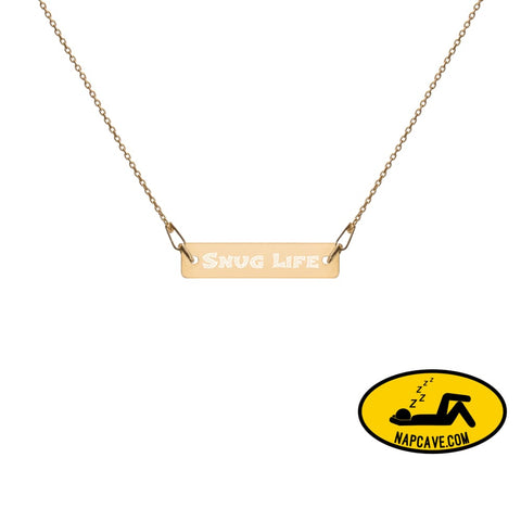 Snug Life Engraved Silver Bar Chain Necklace 24K Gold / 16 Jewelry The NapCave Snug Life Engraved Silver Bar Chain Necklace delicate gangsta