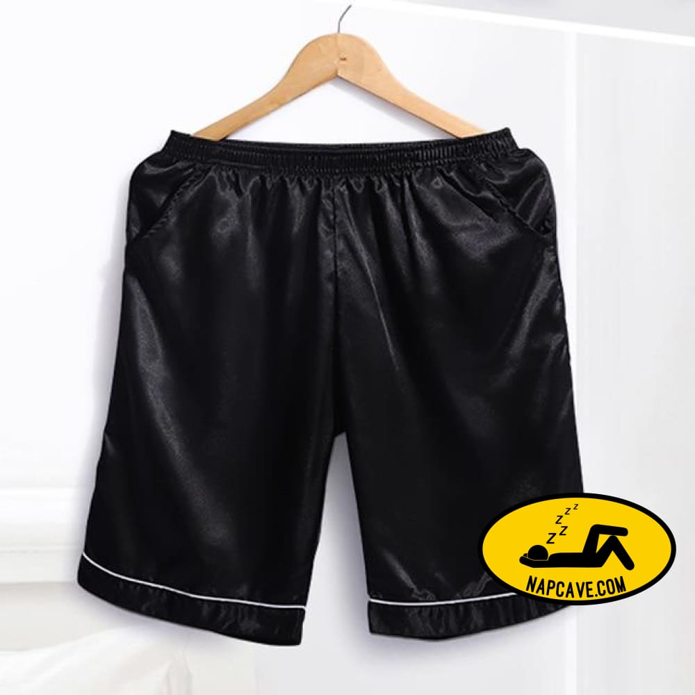 Soft Silk Satin Pajamas Homewear Shorts for Men Black / S Pajamas The NapCave Soft Silk Satin Pajamas Homewear Shorts for Men boxers feels