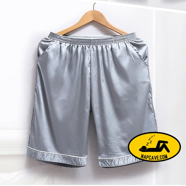Soft Silk Satin Pajamas Homewear Shorts for Men Navy 1 / S Pajamas The NapCave Soft Silk Satin Pajamas Homewear Shorts for Men boxers feels
