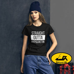 Straight Outta Hypocretin Womens short sleeve t-shirt Black / S shirt The NapCave Straight Outta Hypocretin Womens short sleeve t-shirt