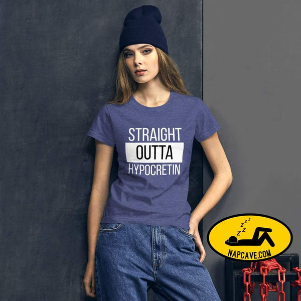 Straight Outta Hypocretin Womens short sleeve t-shirt Heather Blue / S shirt The NapCave Straight Outta Hypocretin Womens short sleeve