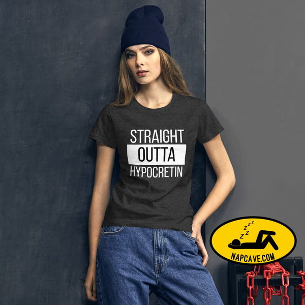 Straight Outta Hypocretin Womens short sleeve t-shirt Heather Dark Grey / S shirt The NapCave Straight Outta Hypocretin Womens short sleeve