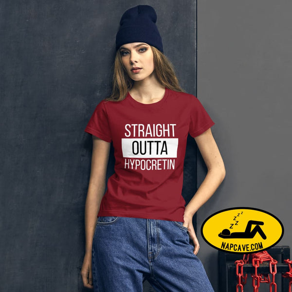 Straight Outta Hypocretin Womens short sleeve t-shirt Independence Red / S shirt The NapCave Straight Outta Hypocretin Womens short sleeve