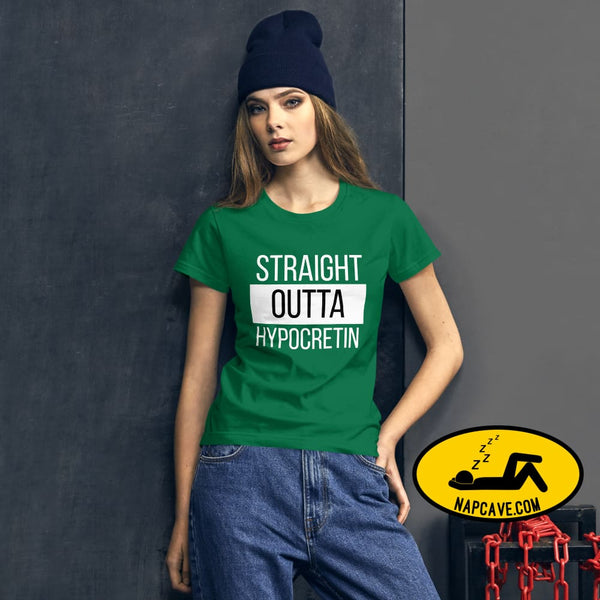 Straight Outta Hypocretin Womens short sleeve t-shirt Kelly Green / S shirt The NapCave Straight Outta Hypocretin Womens short sleeve