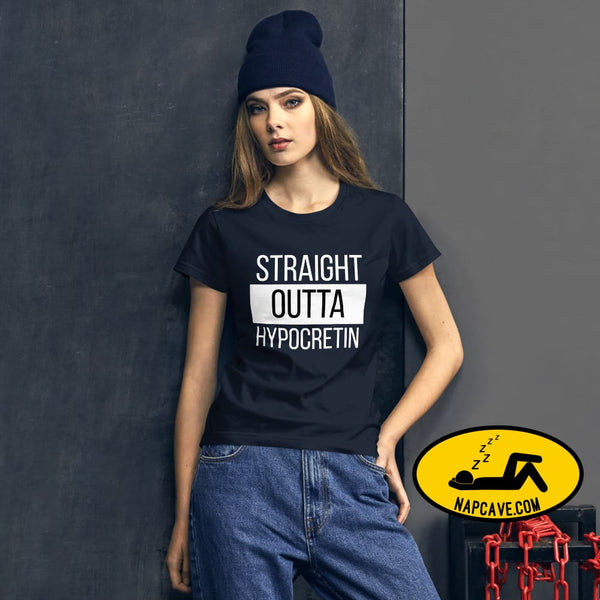 Straight Outta Hypocretin Womens short sleeve t-shirt Navy / S shirt The NapCave Straight Outta Hypocretin Womens short sleeve t-shirt