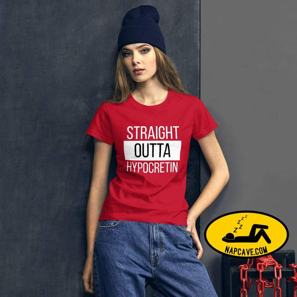Straight Outta Hypocretin Womens short sleeve t-shirt Red / S shirt The NapCave Straight Outta Hypocretin Womens short sleeve t-shirt
