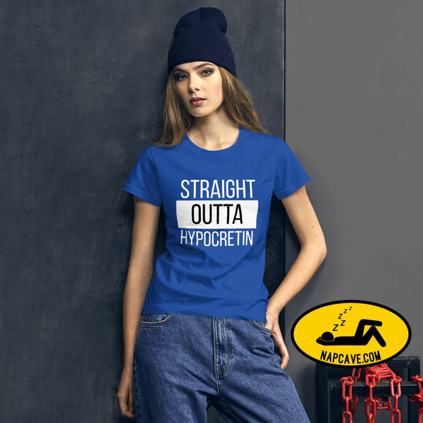 Straight Outta Hypocretin Womens short sleeve t-shirt Royal Blue / S shirt The NapCave Straight Outta Hypocretin Womens short sleeve t-shirt