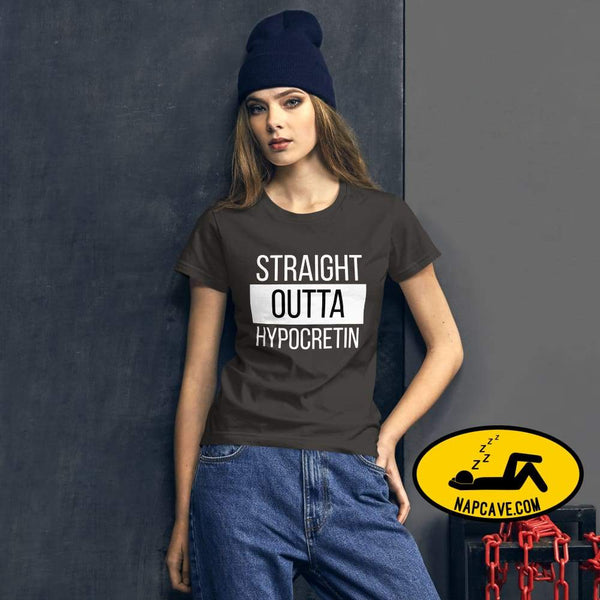 Straight Outta Hypocretin Womens short sleeve t-shirt Smoke / S shirt The NapCave Straight Outta Hypocretin Womens short sleeve t-shirt