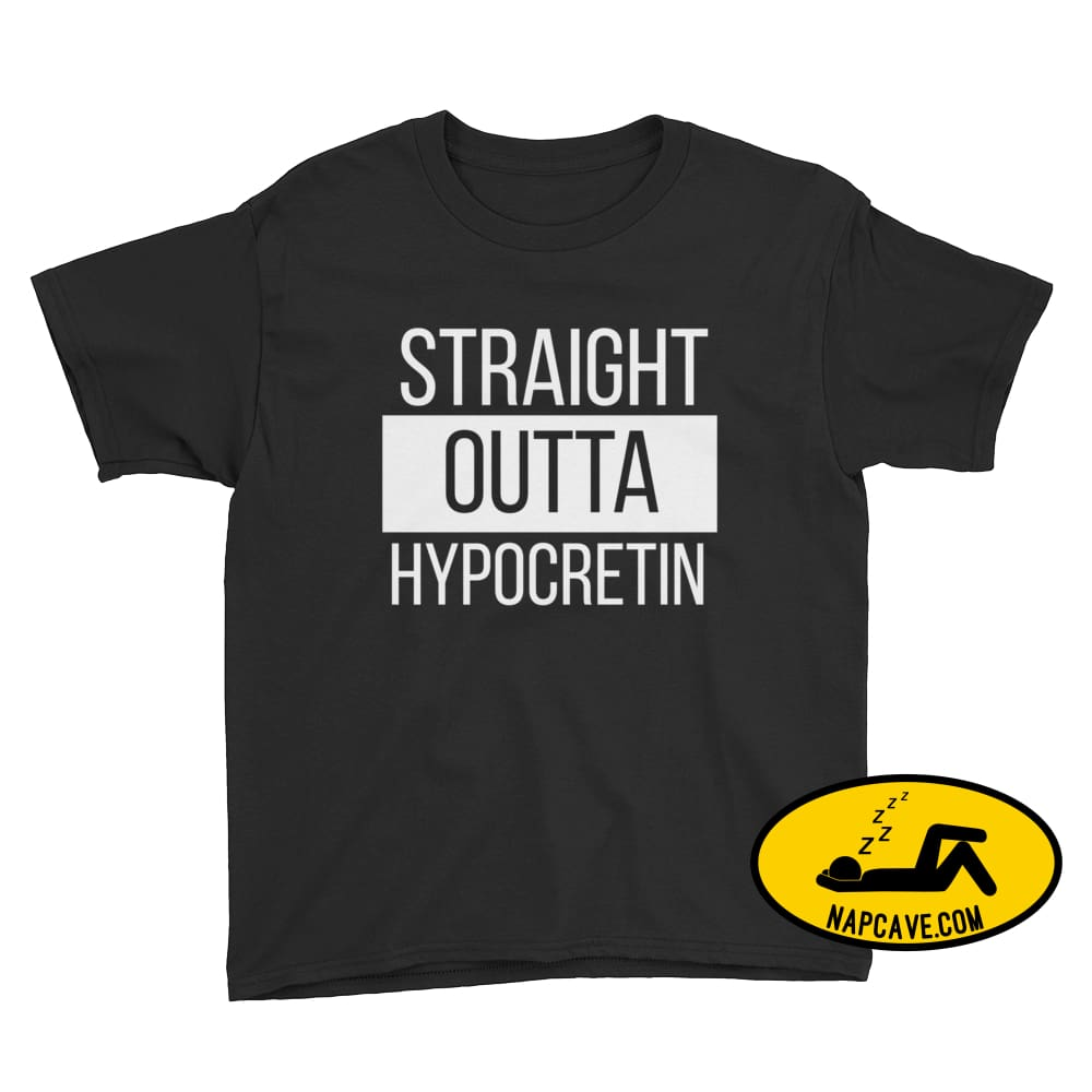 Straight Outta Hypocretin Youth Short Sleeve T-Shirt Black / XS Youth Shirt The NapCave Straight Outta Hypocretin Youth Short Sleeve T-Shirt